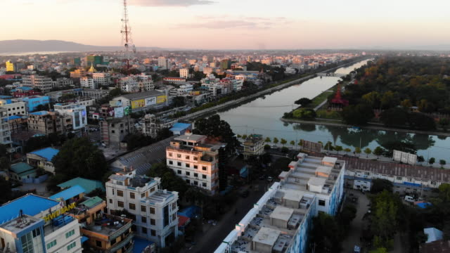 aerial view of mandalay, at sunset, myanmar - myanmar stock videos & royalty-free footage