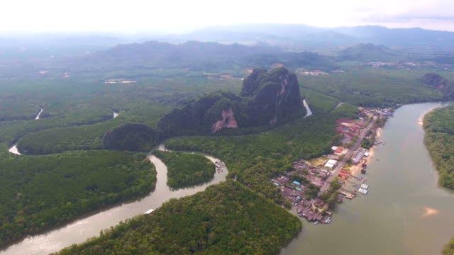 aerial view of mangrove forest, phang-nga bay, thailand - phang nga bay stock videos and b-roll footage