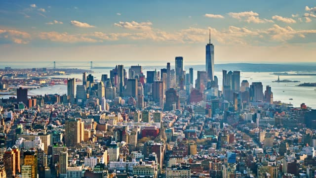 aerial view of manhattan business downtown - new york state stock videos & royalty-free footage