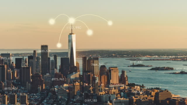 T/L WS PAN Aerial View of Manhattan City Network Technology / NYC