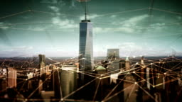 Aerial view of Manhattan Financial District with connections. Technology-Futuristic.