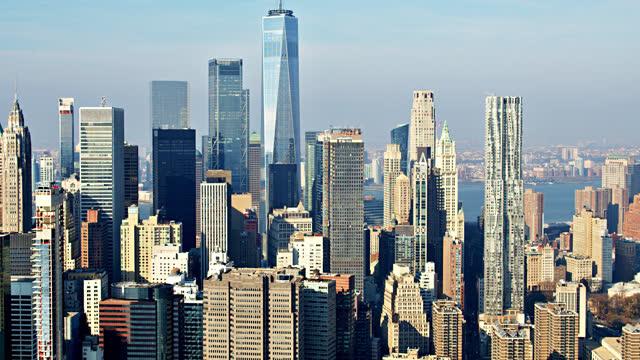 stockvideo's en b-roll-footage met lucht mening van het financiële district van manhattan. wtc. - manhattan stad new york