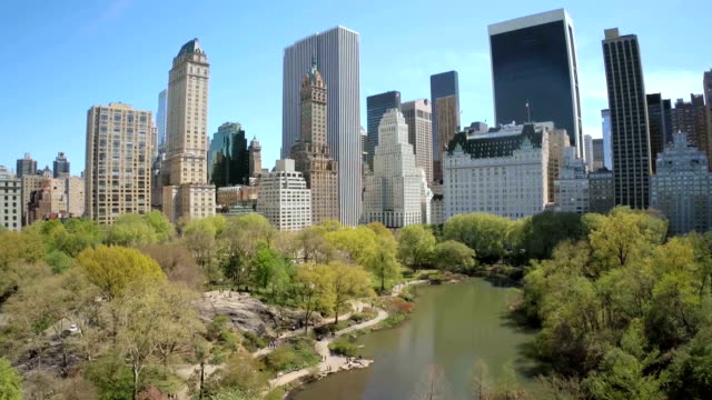 aerial view of manhattan, new york city - central park manhattan stock videos and b-roll footage