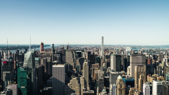 t/l ws ha zi aerial view of manhattan, nyc - city street stock videos & royalty-free footage