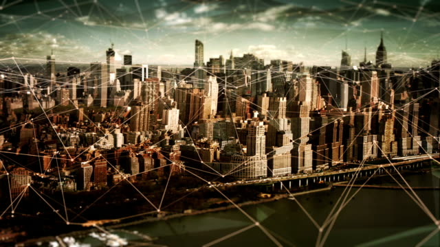 aerial view of manhattan skyline with connections. technology-futuristic. - global finance stock videos & royalty-free footage