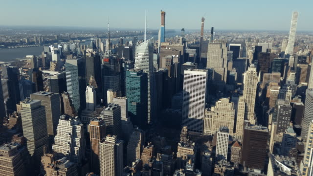 aerial view of manhattan - midtown manhattan stock videos & royalty-free footage