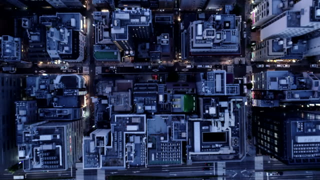 vidéos et rushes de aerial view of many buildings and huge crossroad - tokyo japan