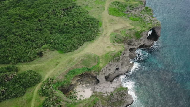 vidéos et rushes de aerial view of manzamo cape - île