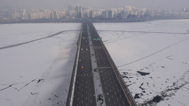Aerial view of Mapodaegyo Bridge with frozen Hangang River
