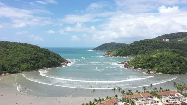 aerial view of mar casado beach in guarujá, são paulo - mar stock videos & royalty-free footage