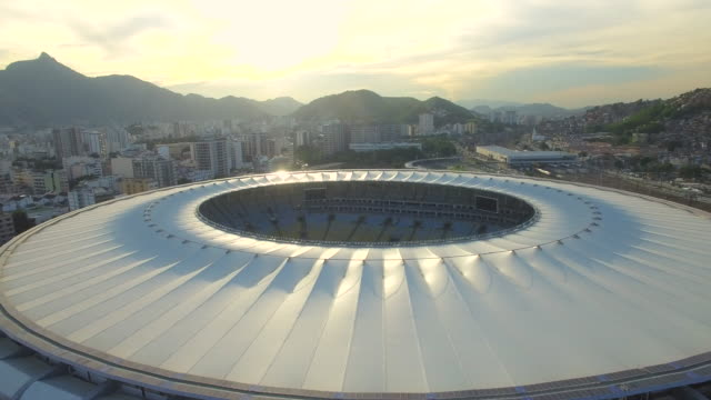 aerial view of maracana stadium rio de janeiro - football pitch stock videos and b-roll footage