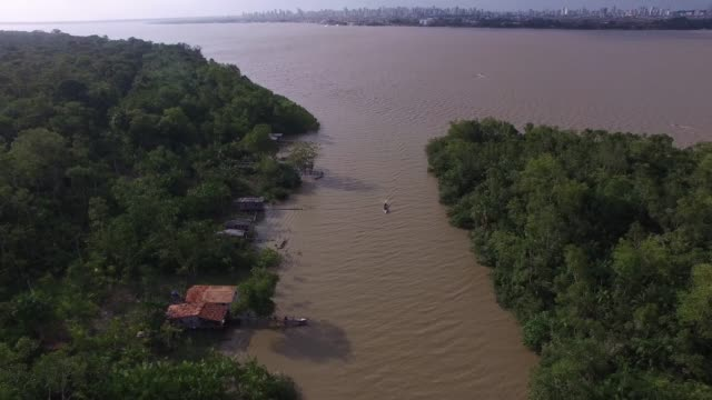 aerial view of marajo river in belem do para, brazil - brazilian culture stock videos & royalty-free footage