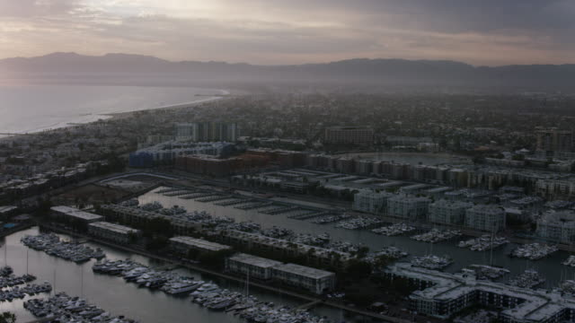 Aerial view of Marina Del Ray Los Angeles, CA sunset