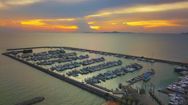 Aerial view of marina,Pattaya