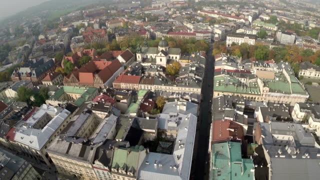 Luchtfoto van marktplein, Krakau Polen