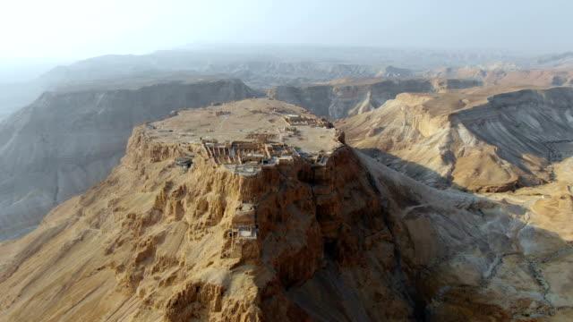 aerial view of masada at sunrise, judean desert ,israel - israel stock videos & royalty-free footage