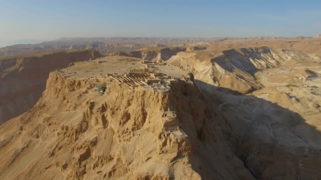 Aerial view of Masada at sunrise