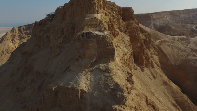aerial view of masada the ancient site in the judean desert, israel. - fortress stock videos & royalty-free footage