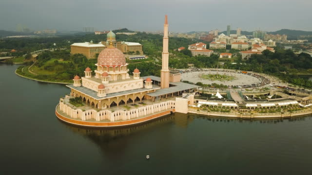 Aerial view of Masjid Putra or Putra Mosque, the Federal Territory of Putrajaya