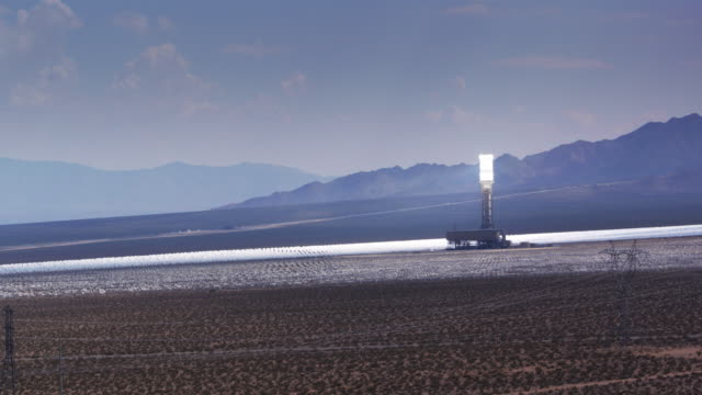 Aerial View of Massive Solar Power Facility in Mojave Desert