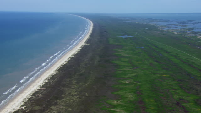 aerial view of matagorda island, texas, united states of america. - bay of water stock videos & royalty-free footage