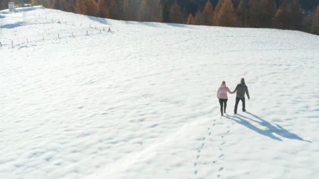 aerial view of mature couple walking through snowy meadow in mountains - track imprint stock videos & royalty-free footage