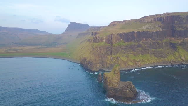 aerial view of mealt falls and kilt rock, isle of skye, scottland - falling water stock videos & royalty-free footage