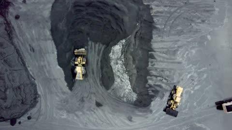 stockvideo's en b-roll-footage met luchtfoto van de mechanische graver en vrachtwagen in kolen mijnbekken - mijnindustrie
