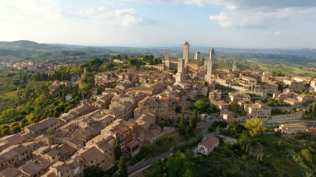 aerial view of medieval towers in san gimignano - tuscany stock videos and b-roll footage