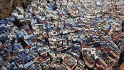 Aerial view of Medina blue old city Chefchaouen