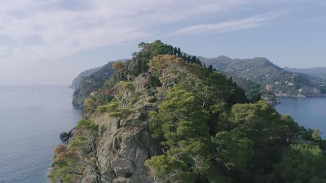 aerial view of mediterranean coastline and portofino peninsula - coastal feature stock videos & royalty-free footage