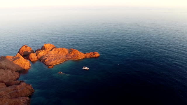 aerial view of mediterranean sea - red rocks stock videos and b-roll footage