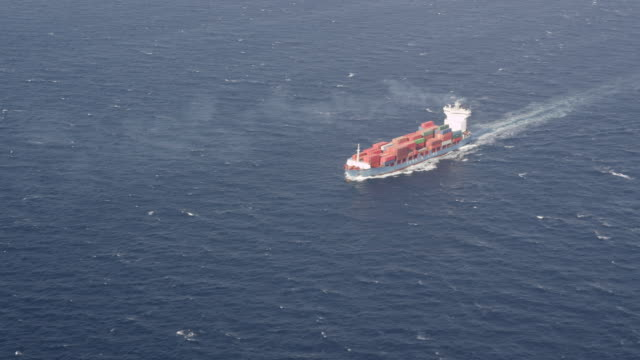 aerial view of medium sized container ship