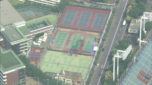 aerial view of meiji jingu gaien in tokyo - basebollplan bildbanksvideor och videomaterial från bakom kulisserna