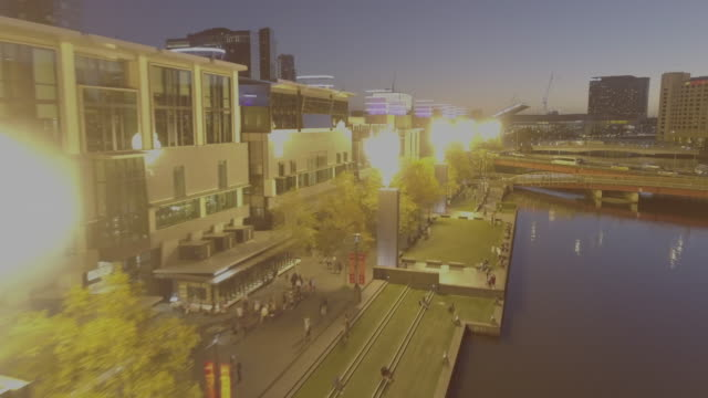 Aerial view of Melbourne Casino flames on the Yarra River.
