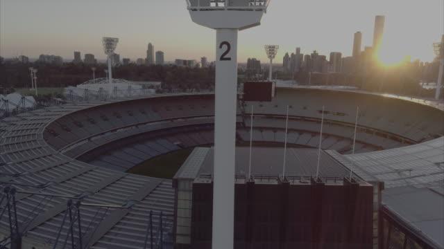 aerial view of melbourne cricket ground. melbourne victoria australia - cricket stock-videos und b-roll-filmmaterial