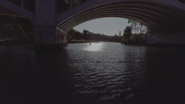 aerial view of melbourne's church street bridge. melbourne australia - arch bridge stock videos and b-roll footage