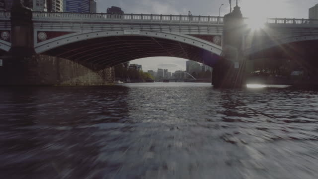 aerial view of melbourne's princes bridge. melbourne australia - melbourne australia stock videos & royalty-free footage