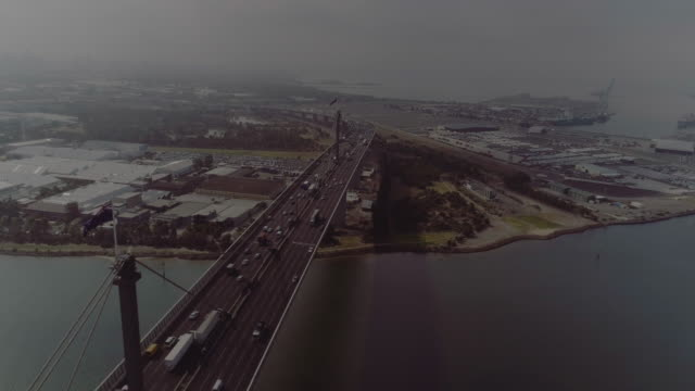 aerial view of melbourne's west gate bridge. melbourne australia - cable box stock videos & royalty-free footage