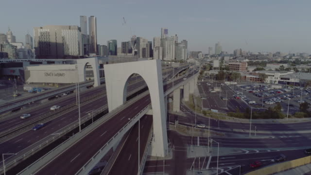 aerial view of melbourne's west gate freeway. melbourne australia - gate stock videos & royalty-free footage