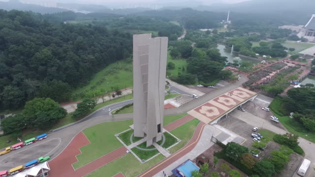 aerial view of memorial monument at independence hall of korea and surrounding landscape - independence hall stock videos and b-roll footage
