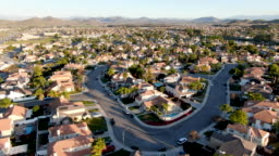 Aerial view of Menifee neighborhood, residential subdivision vila during sunset