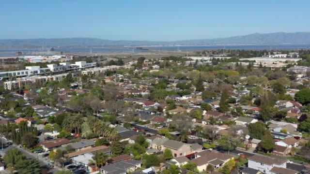 aerial view of menlo park palo alto neighborhood near facebook office - california stock videos & royalty-free footage