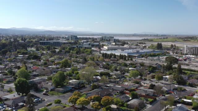 aerial view of menlo park palo alto neighborhood near facebook office - silicon valley stock videos & royalty-free footage