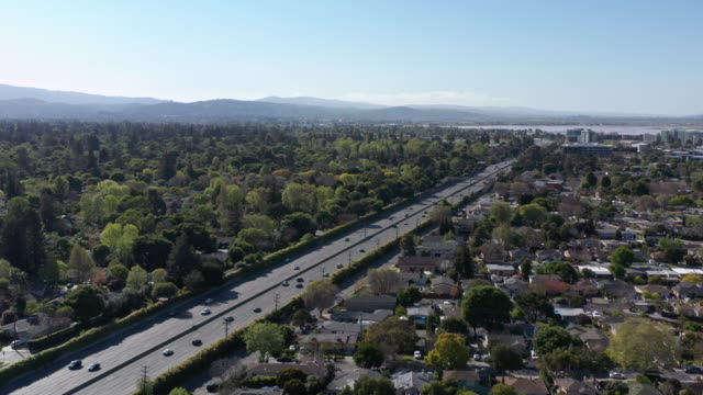 aerial view of menlo park palo alto neighborhood near facebook office - dutcheraerials covid stock videos & royalty-free footage