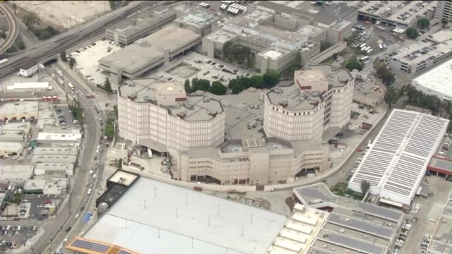 ktla aerial view of men's central jail after riot erupts on june 3 2015 - public building stock videos & royalty-free footage