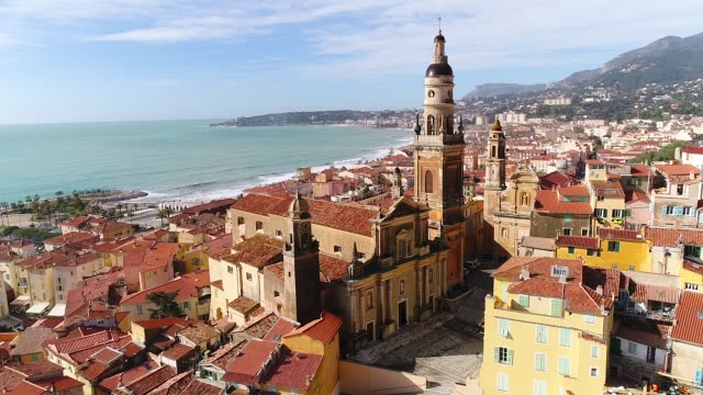 aerial view of menton - cannes stock videos & royalty-free footage