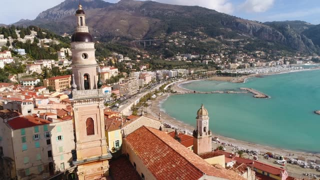 stockvideo's en b-roll-footage met aerial view of menton - frankrijk