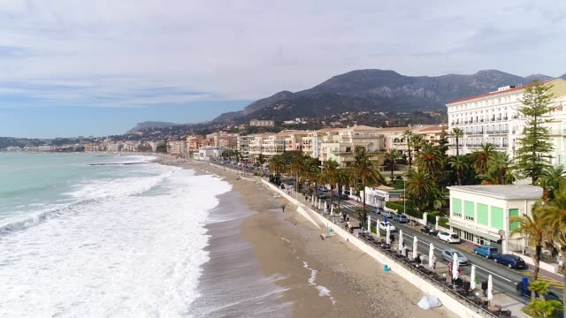 aerial view of menton - cote d'azur stock videos & royalty-free footage