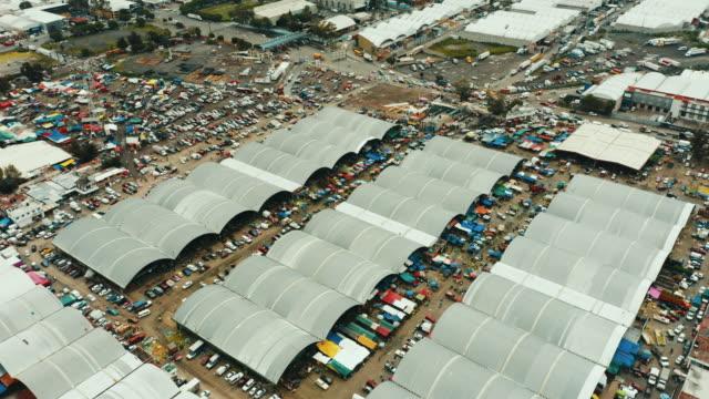 aerial view of mercado de abastos in mexico city. - central de abastos stock videos & royalty-free footage
